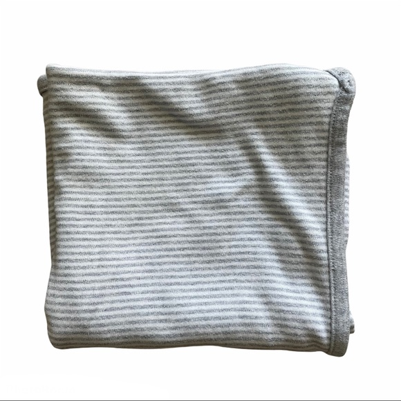 Gray and White Stripped Receiving Blanket